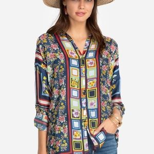Johnny Was Delphine Blouse Silk Floral Tunic Top